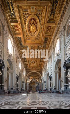 nave, Papal Archbasilica of St. John Lateran, Arcibasilica Papale di San Giovanni in Laterano, Rome, Italy - Stock Photo