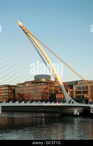 Samuel Beckett Bridge is a cable-stayed bridge in Dublin - Stock Photo