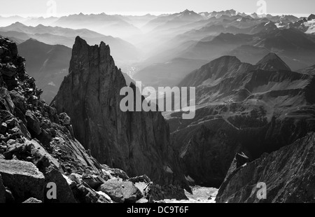 A look at Aiguille Noire de Peuterey and Aosta Valley from refugio Lampugnani (Eccles). Italy. Courmayeur. Monte - Stock Photo