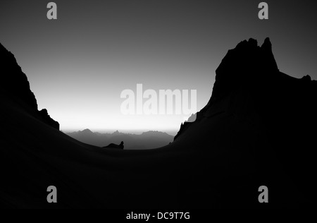 Black & white alpine landscape. Sunrise, Italian Alps, Mont Blanc Monte Bianco massif. Col du Peuterey and Aiguille - Stock Photo