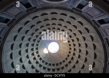 interior dome of Pantheon, Rome, Italy - Stock Photo