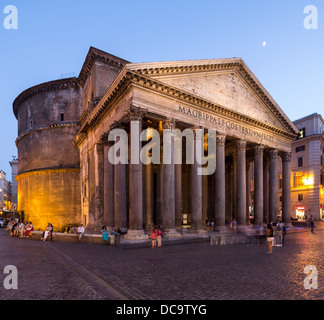 dome and pediment of Pantheon, Rome, Italy - Stock Photo