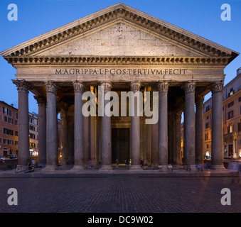 entrance columns and pediment of Pantheon, Rome, Italy - Stock Photo