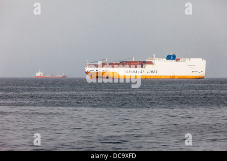 Container Ship Passing Goree en Route to Port of Dakar, Senegal. - Stock Photo