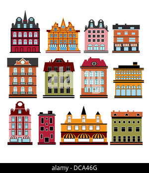 Various variants of houses on the white - Stock Photo