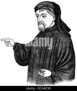 Portrait of Geoffrey Chaucer, ca. 1343 - 1400, part of the Canterbury Tales, 14th Century - Stock Photo