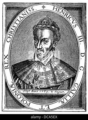 Henri III of France or Alexandre-Édouard, Duke of Anjou or Henri de Valois, 1551 - 1589, King of Poland-Lithuania, - Stock Photo