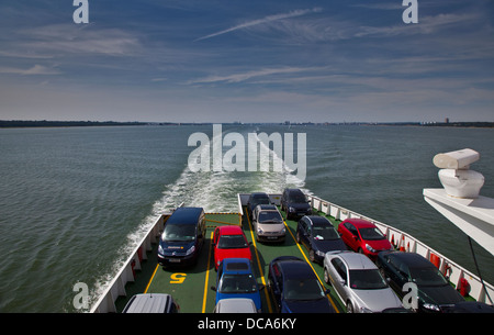Aboard the Red Funnel Ferry Red Osprey on Southampton Water from Southampton to Cowes, Isle of Wight, Hampshire, - Stock Photo