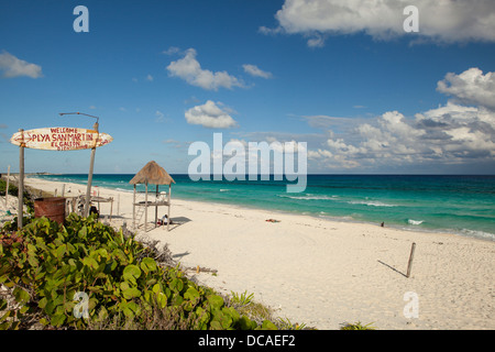 The east side of Isla Cozumel. Only a few small beach operators are located here and many are used by the locals. - Stock Photo