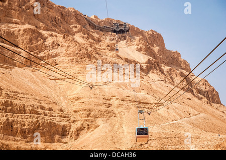 Tranpost to the top of Massada hill by the Cable Car. Judea Desert, Israel. Holy Land. - Stock Photo