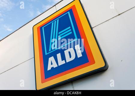 Aldi supermarket sign.