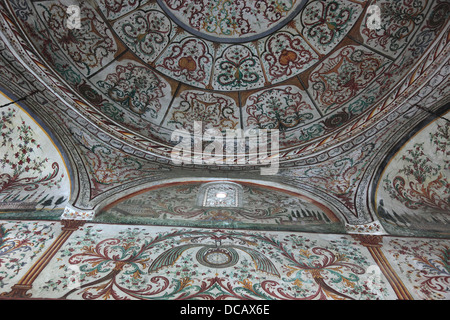 Tirana, Albania, Et'hem-Bey-Mosque, Xhamia e Et'hem Beut, at the Skanderbeg Square, Inside, the roof decoration - Stock Photo