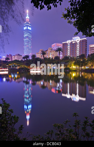 Taipei Skyline from Sun Yat-sen Memorial Park in Taipei, Taiwan. - Stock Photo