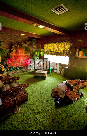 The Jungle Room at Graceland the home of Elvis Presley in Memphis Tennessee USA - Stock Photo