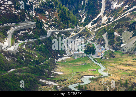Hairpin on the Furka and Grimsel pass in the Swiss Alps, near Gletsch - Stock Photo