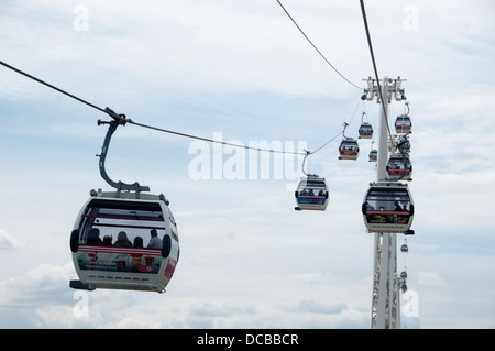 North Greenwich. 'Emirates airline', cable car across the Thames. - Stock Photo