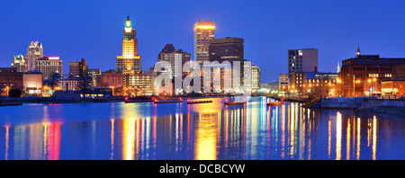 Providence, Rhode Island, USA panorama from across the Providence River. - Stock Photo