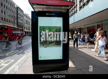 London 14/08/13: Visitors to the John Lewis section of Oxford Street can enjoy a free fine art slide show courtesy - Stock Photo