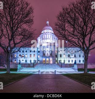 Rhode Island State House in Providence, Rhode Island, USA illuminated at night. - Stock Photo