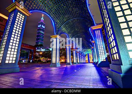 Nighttime cityscape in Taipei, Taiwan. - Stock Photo