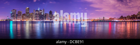 New York City Panorama spanning from Lower Manhattan to Brooklyn across the East River. - Stock Photo