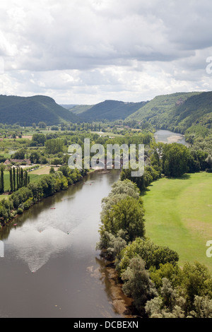 A view from above of the Dordogne river, from the Chateau at Beynac et Cazenac, Dordogne, France, Europe - Stock Photo