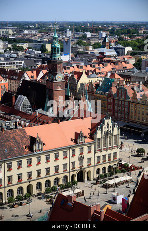 View from tower of Elisabethkirche, Wroclaw, Lower Silesia, Poland, Europe - Stock Photo