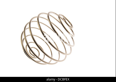 Iron wire tangled up into a spiral ball resulting in a shiny chrome sphere, tilted and viewed from side and isolated - Stock Photo