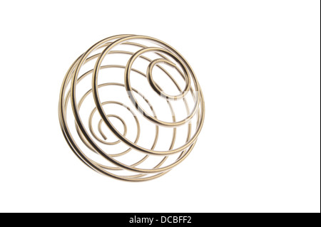 Iron wire tangled up into a spiral ball resulting in a shiny chrome sphere, right tilted and isolated in white background - Stock Photo