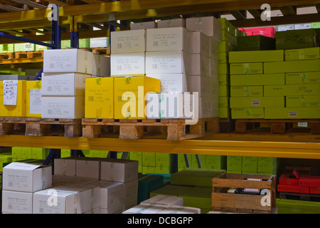 Stacks of wine ready to be sent out at Gitton Pere et Fils. - Stock Photo