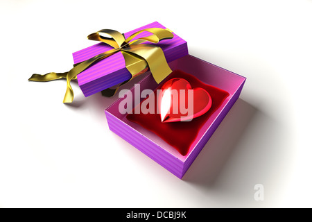 Gift package, with ribboned open cup, with a shiny heart inside, on a white surface. - Stock Photo