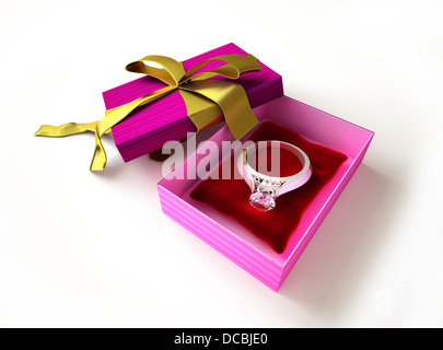 Gift package, with ribboned open cup, with ring and diamond on a pillow, inside. - Stock Photo