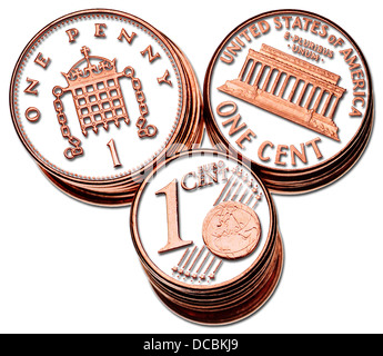 British pennies; American 1c pieces; Euro 1c pieces. Details digitally cutout, with drop shadows - Stock Photo