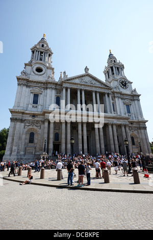 west front of st pauls cathedral London England UK - Stock Photo
