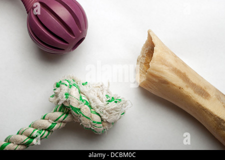 Variety of dog toys against white background - Stock Photo