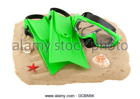 Diving equipment on the beach - Stock Photo