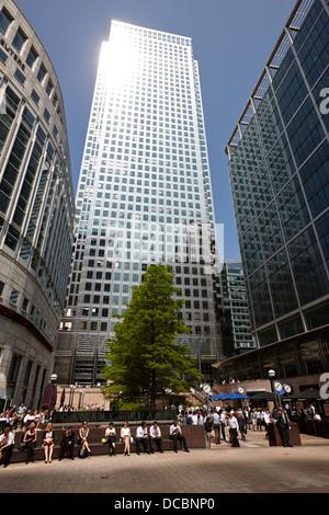 one canada square skyscraper in canary wharf London England UK - Stock Photo