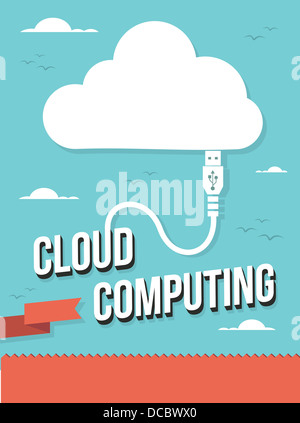USB icon wire cloud computing text illustration. Vector illustration layered for easy manipulation and custom coloring. - Stock Photo