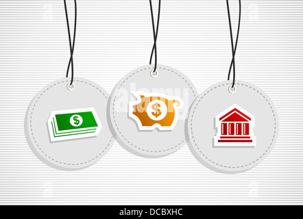 Business save money hang tags set illustration. Vector file layered for easy manipulation and custom coloring. - Stock Photo