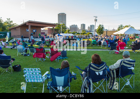 Outdoor music concert at River Fest Park in Buffalo New York United States - Stock Photo