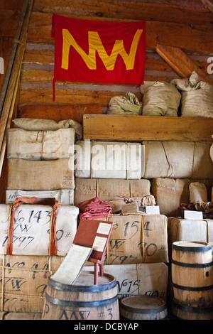 Goods stacked inside the North West Company Warehouse, Grand Portage National Monument, Grand Portage, Minnesota, - Stock Photo
