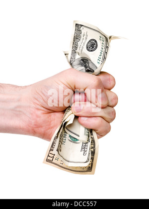 Hand wrinkle a bunch of dollars - Stock Photo