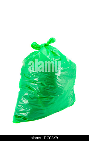 full green garbage bag isolated on white - Stock Photo