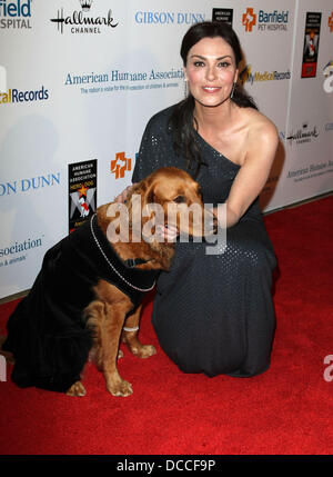Michelle Forbes with Rocket The American Humane Associations first annual Hero Dog Awards at The Beverly Hilton - Stock Photo