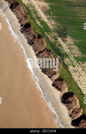 aerial view of coastal erosion near Withernsea in East Yorkshire - Stock Photo
