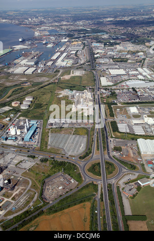 aerial view looking west up the A1033 road, Hedon Road, towards Hull - Stock Photo