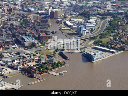 aerial view of the River Hull as it flows into The Humber Estuary - Stock Photo