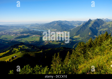 Panoramic view of the green Gruyère region in the Swiss Prealps - Stock Photo