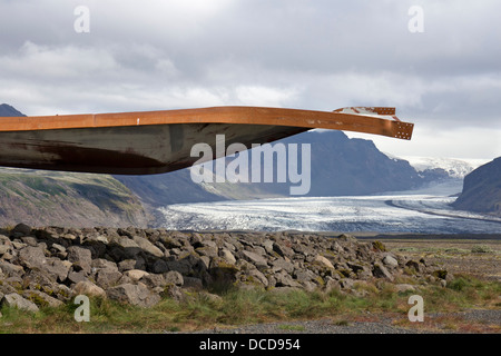 Twisted Metal Girders from the Gigjukvisl Bridge Destroyed by a Flood During a Volcanic Eruption Iceland - Stock Photo