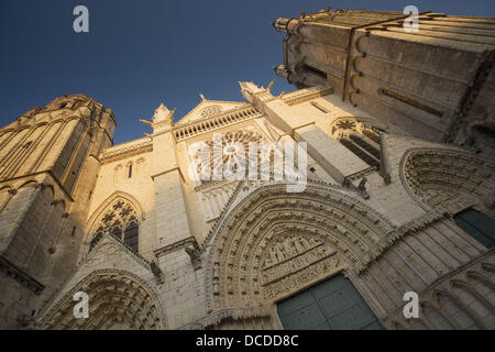Saint pierre cathedral façade (begun in the XIIth century, gothic style). Poitiers. Vienne, France - Stock Photo